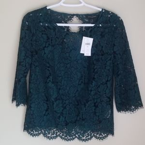 NWT Banana Republic Lace Blouse 3/4 Sleeve Green